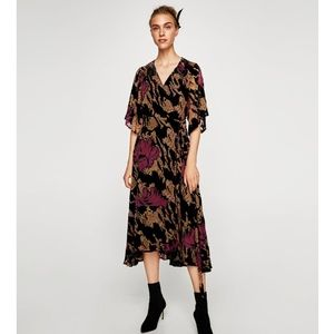 Zara Devore Velvet Midi Dress